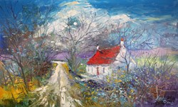 Winterlight The Long & Winding Road Kintyre by John Lowrie Morrison - Original Painting on Stretched Canvas sized 32x20 inches. Available from Whitewall Galleries